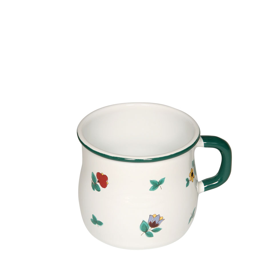 Belly-shaped enamel mug 8 3/8 l