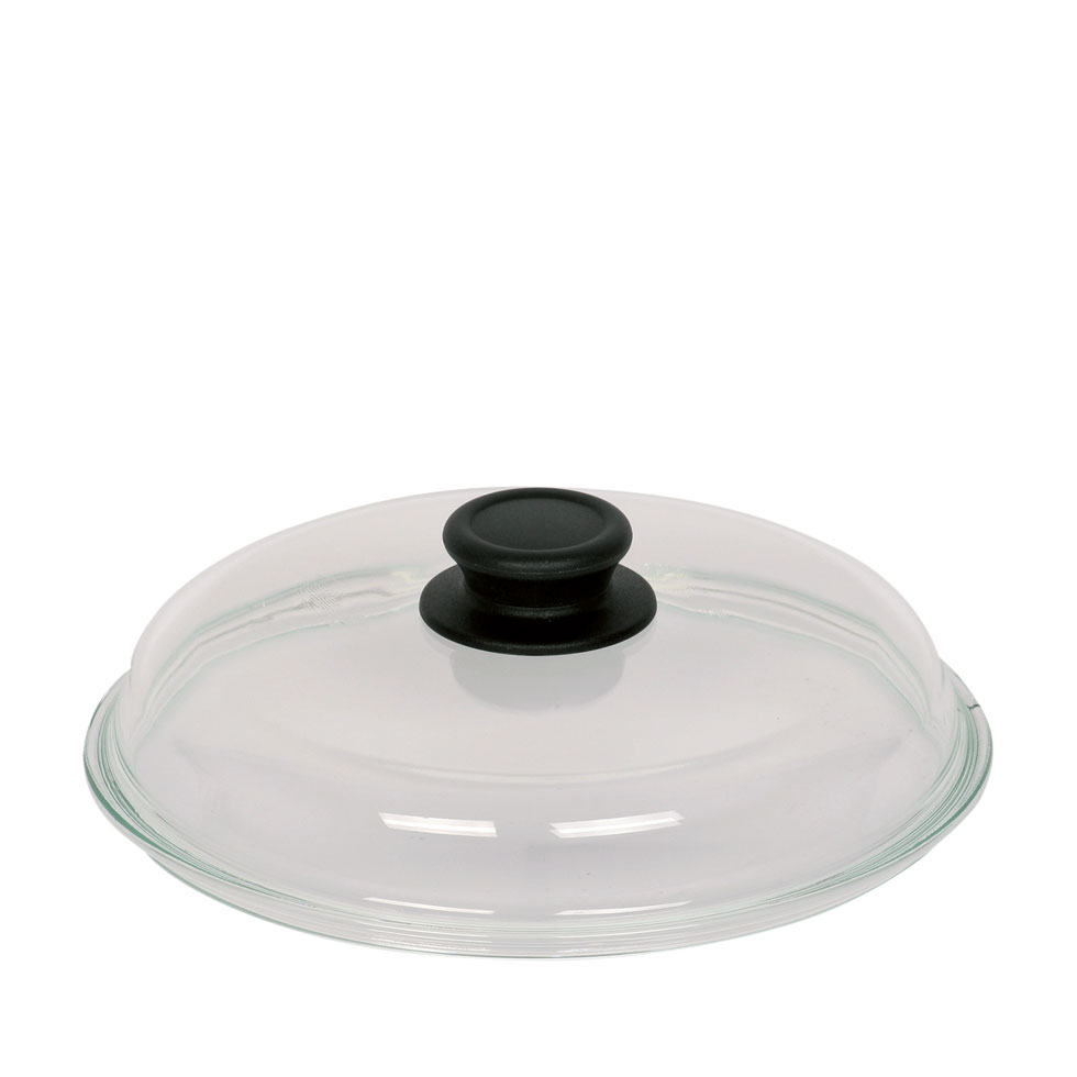 High-sided glass lid for pan 28