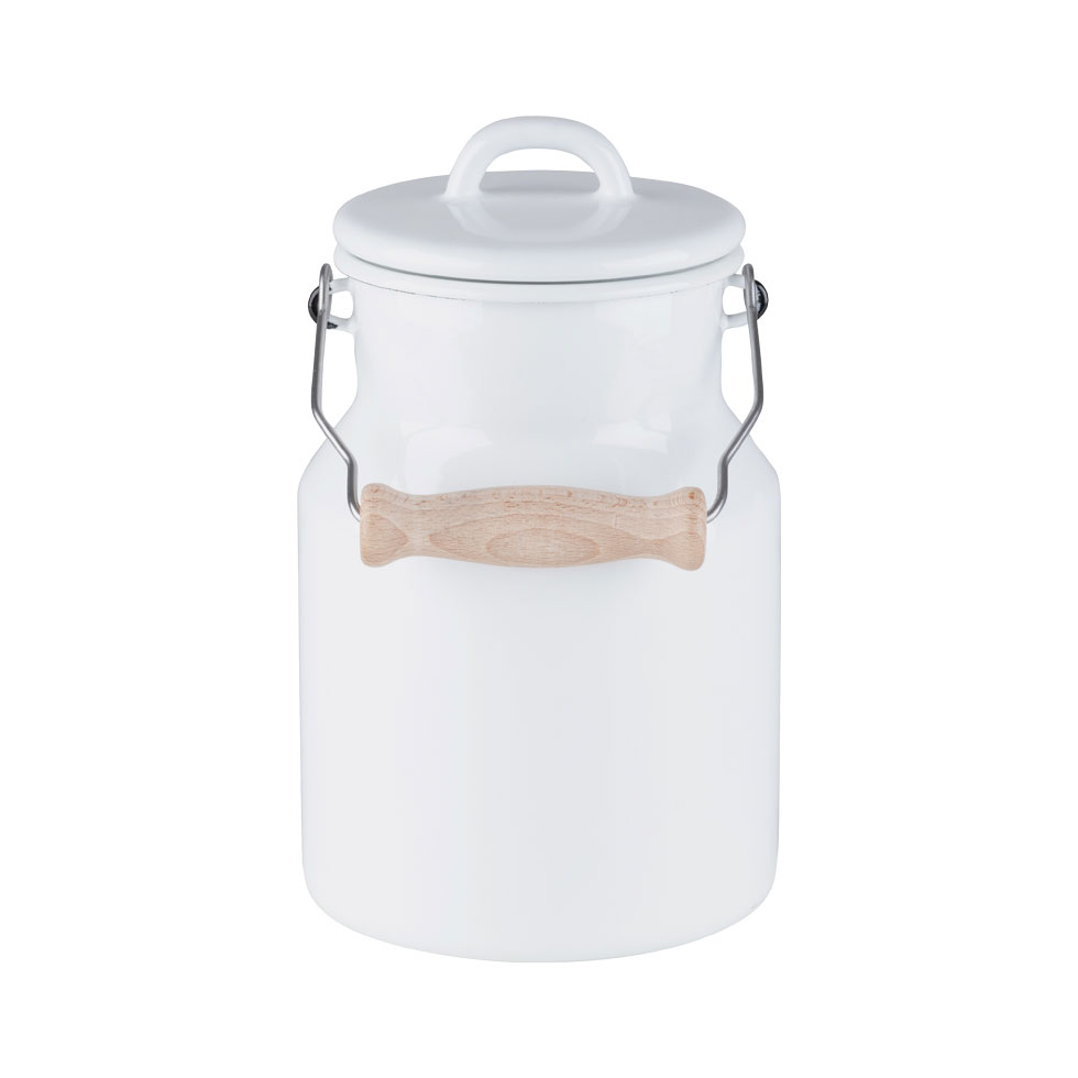 Grandma's milk can 1.5 l - with enamel lid and wooden handle 0457-033