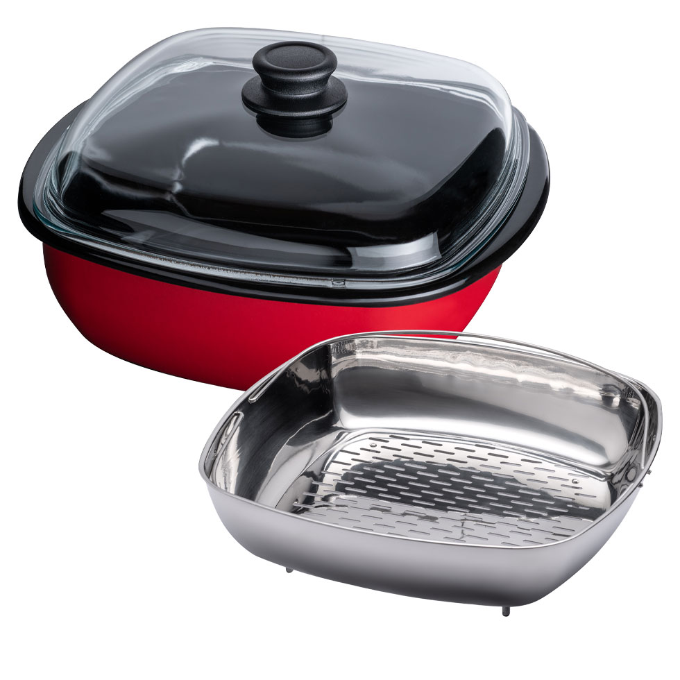Steamer 3 pcs. with glass lid and cooking insert 28/28 4,50l